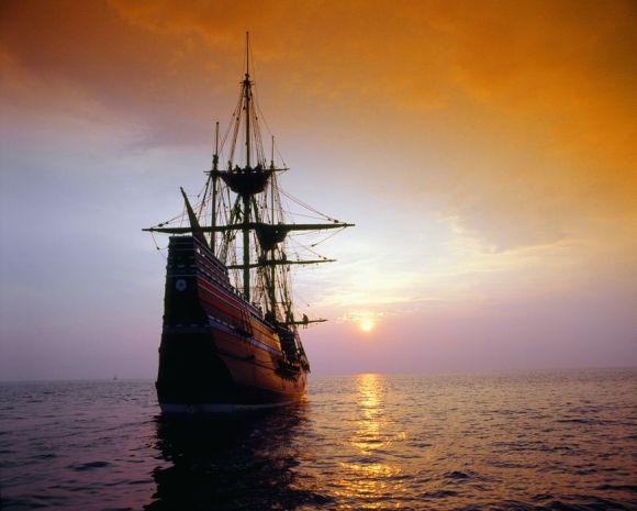 Fototapeta Statek przy zachodzie słońca